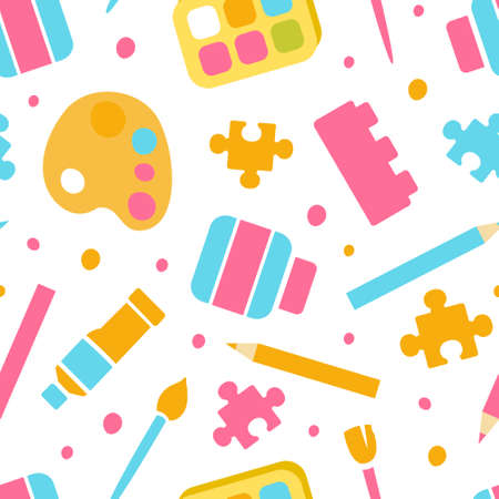 Art Supplies Seamless Pattern, Textile, Stationery, Artist Materials Wallpaper, Wrapping Paper, Background, Print Design Cartoon Vector Illustration  イラスト・ベクター素材