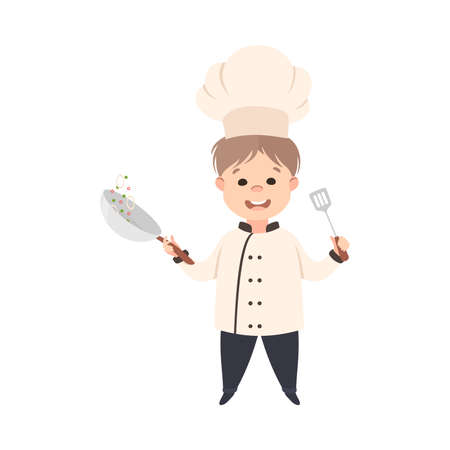 Cute Boy Chef Cook Frying Vegetables on Pan, Smiling Kid in Chef Uniform Cooking in Kitchen Cartoon Style Vector Illustration
