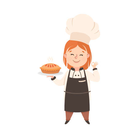 Cute Girl Chef Cook Holding Platter with Freshly Baked Pie, Kid in Chef Uniform Cooking in Kitchen Cartoon Style Vector Illustration Ilustración de vector