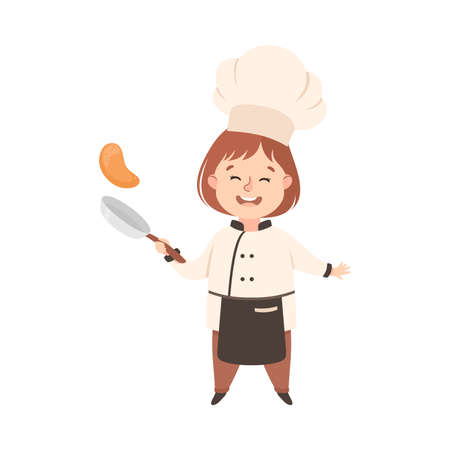 Cute Girl Chef Cook Tossing Pancake on Frying Pan, Kid in Chef Uniform Cooking in Kitchen Cartoon Style Vector Illustration Vettoriali