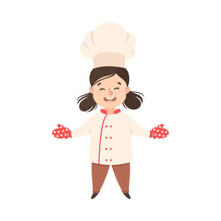 Cute Girl Chef Cook in Kitchen Gloves, Kid in Chef Uniform Cooking in Kitchen Cartoon Style Vector Illustration