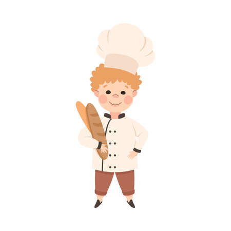 Cute Boy Chef Cook Holding Fresh Baked Loaf of Bread, Kid in Chef Uniform Cooking in Kitchen Cartoon Style Vector Illustration