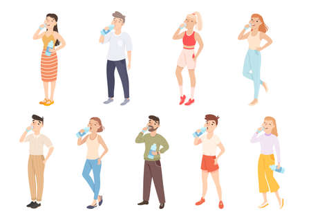 People Drinking Clean Water from Plastic Bottles Set, Male and Female Persons Quenching Thirst, Healthy Lifestyle Concept Cartoon Style Vector Illustration