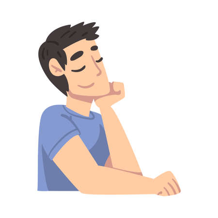 Cheerful Young Man Thinking up an Idea, Man Relaxing and Dreaming about Something Cartoon Style Vector Illustration