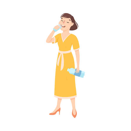Woman Drinking Clean Water from Plastic Bottle, Fenale Person in Yellow Dress Quenching Thirst, Healthy Lifestyle Concept Cartoon Style Vector Illustration