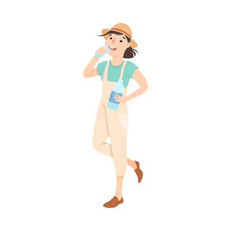 Girl Drinking Clean Water from Plastic Bottle, Woman in Safari Outfit Quenching Thirst, Healthy Lifestyle Concept Cartoon Style Vector Illustration  イラスト・ベクター素材