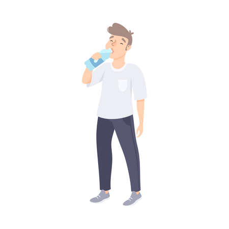 Guy Drinking Clean Water from Plastic Bottle, Man Quenching Thirst at Hot Summer Weather, Healthy Lifestyle Concept Cartoon Style Vector Illustration