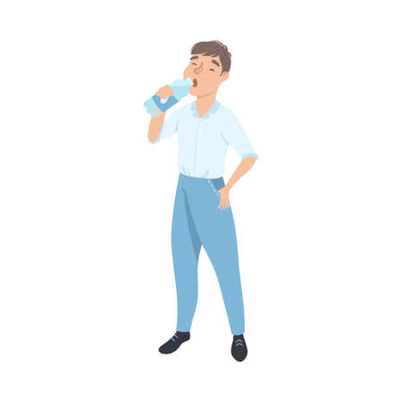 Young Man Drinking Clean Water from Plastic Bottle, Male Person Quenching Thirst, Healthy Lifestyle Concept Cartoon Style Vector Illustration  イラスト・ベクター素材