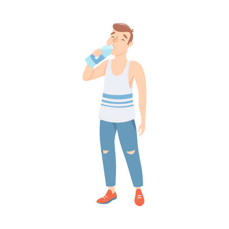 Man Drinking Clean Water from Plastic Bottle, Person Quenching Thirst at Hot Summer Weather, Healthy Lifestyle Concept Cartoon Style Vector Illustration  イラスト・ベクター素材