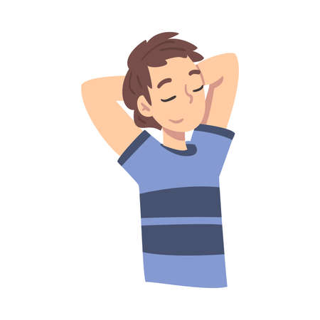 Teen Boy Thinking up an Idea with Happy Facial Expression, Teenager Dreaming about Something Throwing Hands over his Head Cartoon Style Vector Illustration