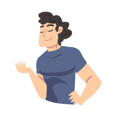 Young Man Thinking up an Idea, Guy Dreaming about Something with Closed Eyes Cartoon Style Vector Illustration