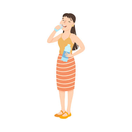 Smiling Girl Drinking Clean Water from Glass, Woman Quenching Thirst at Hot Summer Weather, Healthy Lifestyle Concept Cartoon Style Vector Illustration  イラスト・ベクター素材