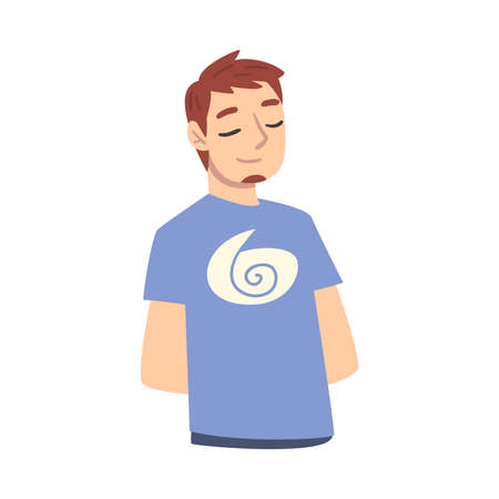 Guy Dreaming about Something, Male Srudent Thinking up an Idea with Pensive Facial Expression Cartoon Style Vector Illustration