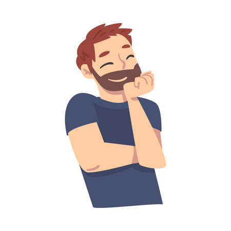 Young Bearded Man Thinking up an Idea with Happy Facial Expression and Closed Eyes, Guy Dreaming about Something Cartoon Style Vector Illustration