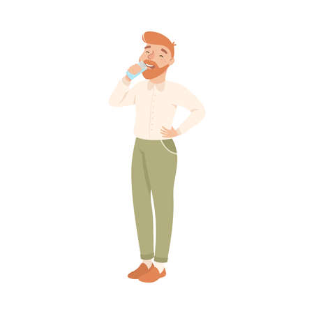 Bearded Man Drinking Clean Water from Plastic Bottle, Man Quenching Thirst, Healthy Lifestyle Concept Cartoon Style Vector Illustration