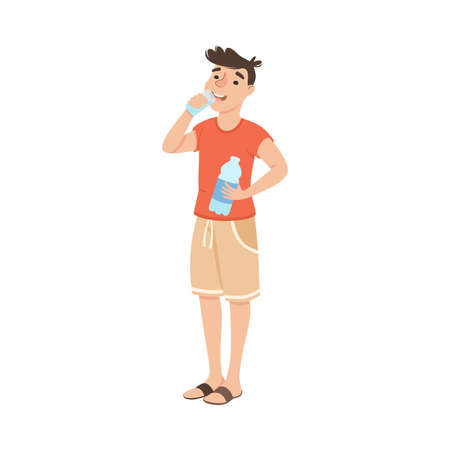 Guy Drinking Clean Water from Plastic Bottle, Man Quenching Thirst, Healthy Lifestyle Concept Cartoon Style Vector Illustration