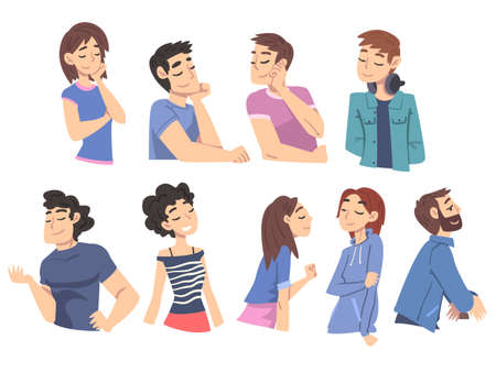 People Thinking up Ideas Set, Male and Female Persons Dreaming about Something Cartoon Style Vector Illustration 矢量图像