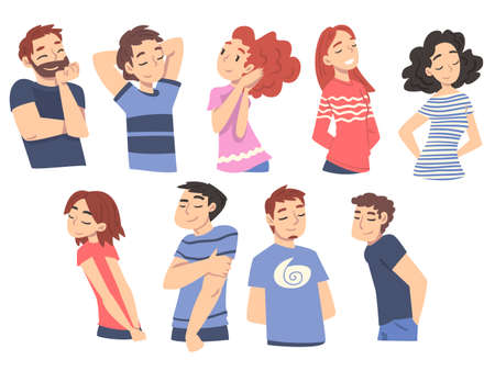 Happy Young People Thinking up Ideas Set, Male and Female Persons Relaxing and Dreaming about Something Cartoon Style Vector Illustration 矢量图像