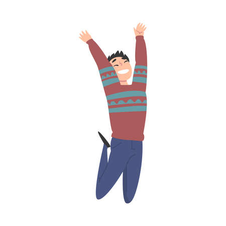 Happy Teenage Boy Flying in the Sky, Smiling Guy Dreaming of Higher Achievement in Life Cartoon Style Vector Illustration