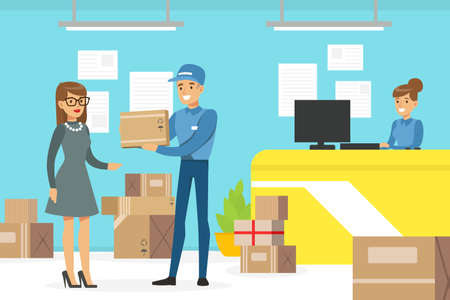 Woman Customer Receiving Parcel Boxe at Post Worker, Delivery Service Office Interior Vector Illustration 矢量图像