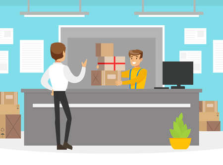 Male Customer Receiving Parcel Boxes at Post Worker, Delivery Service Office or Warehouse Interior Vector Illustration