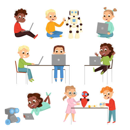 Kids Programmer Characters Set, Boys and Girls Using Computers, Creating and Programming Smart Robots, Electronics Education Concept Cartoon Style Vector Illustration