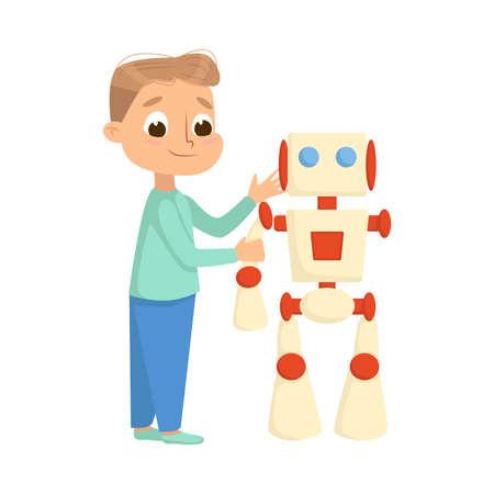 Boy Creating and Programming Smart Robot, Electronics Education, High Tech Hardware Engineering Cartoon Style Vector Illustration Ilustracja