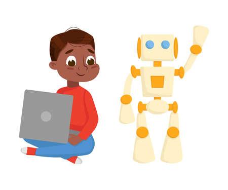 Boy Programming Smart Robot, Electronics Education, High Tech Hardware Engineering Cartoon Style Vector Illustration