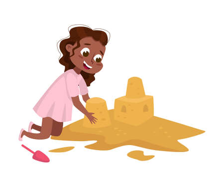 Little African American Girl Playing on Pile of Sand, Kid Having Fun on Playground Cartoon Style Vector Illustration
