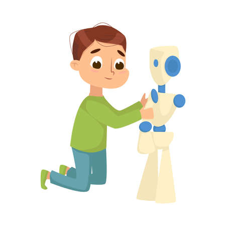 Cute Boy Creating and Programming Smart Robot, Programming Lesson Educational Project Cartoon Style Vector Illustration