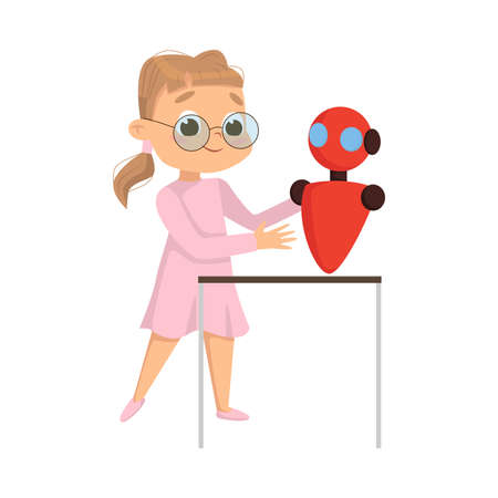 Cute Girl Creating and Programming Smart Robot, Kids Educational Project Cartoon Style Vector Illustration Ilustracja