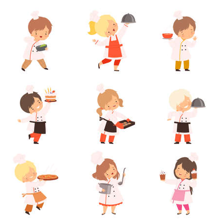 Little Chefs Cooking in the Kitchen Set, Boys and Girls in Uniform with Kitchenware Utensils and Freshly Prepared Dishes Cartoon Style Vector Illustration
