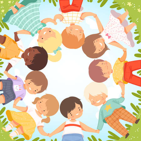 Top View of Cute Happy Kids Lying on Lawn in Circle, Little Smiling Friends Holding Hands Cartoon Vector Illustration Illusztráció
