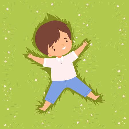 Cute Happy Boy Lying Down on Green Lawn, Adorable Kid Having Fun Outdoors Cartoon Vector Illustration
