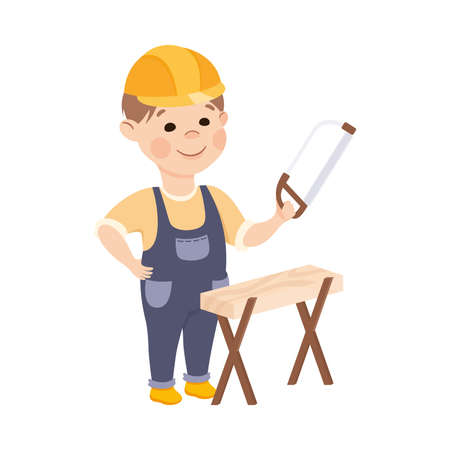Cute Builder Sawing Plank with Saw, Little Boy Carpenter Character in Hard Hat and Blue Overalls with Construction Tools Cartoon Style Vector Illustration