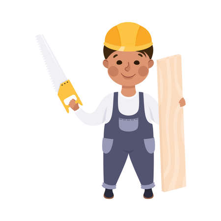 Cute Builder with Plank and Saw, Little Boy Carpenter Character in Hard Hat and Blue Overalls with Construction Tools Cartoon Style Vector Illustration