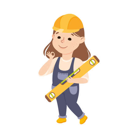 Cute Builder with Bubble Level Tool, Little Girl in Hard Hat and Blue Overalls with Construction Tools Cartoon Style Vector Illustration Stock fotó - 157922014
