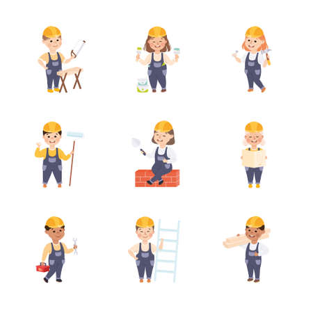 Cute Little Builders Set, Boys and Girls in Hard Hats and Blue Overalls with Construction Tools Cartoon Style Vector Illustration