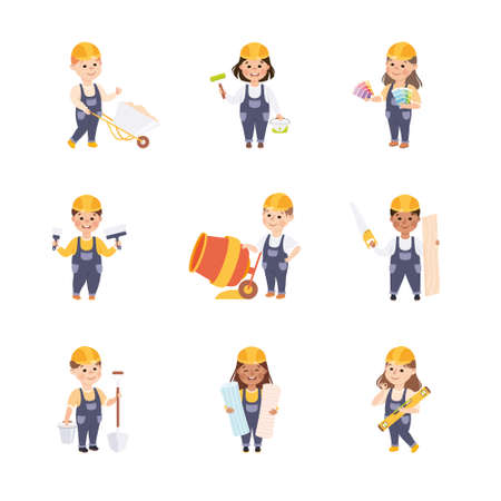 Cute Builders Set, Little Boys and Girls in Hard Hats and Blue Overalls Working with Construction Tools Cartoon Style Vector Illustration