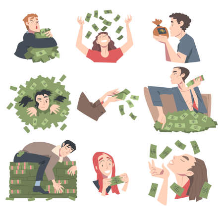 Rich Business People Set, Wealthy Men and Women, Millionaire Characters, Financial Success, Profit, Income Concept Cartoon Style Vector Illustration