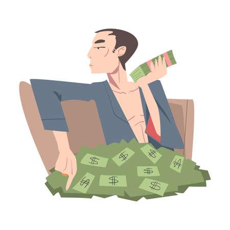 Rich Businessman Sitting in Pile of Money, Wealthy Person, Millionaire Character, Financial Success, Profit, Income Concept Cartoon Style Vector Illustration Vecteurs