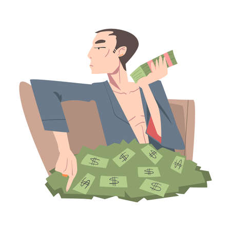 Rich Businessman Sitting in Pile of Money, Wealthy Person, Millionaire Character, Financial Success, Profit, Income Concept Cartoon Style Vector Illustration