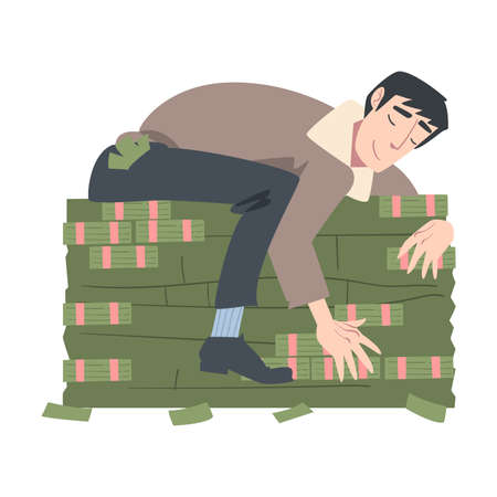 Rich Successful Businessman Hugging Big Pile of Money, Wealthy Person, Millionaire Character, Financial Success, Profit, Income Concept Cartoon Style Vector Illustration