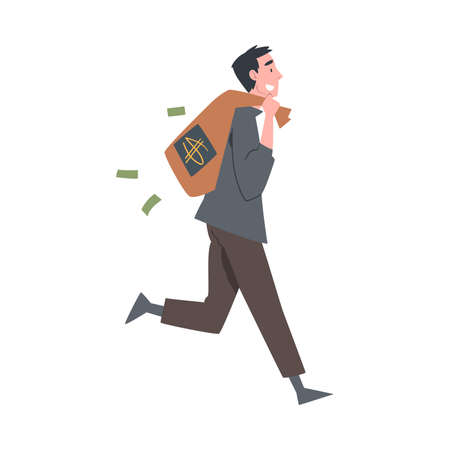 Rich Businessman Running with Bag Full of Money, Wealthy Person, Millionaire Character, Financial Success, Profit, Income Concept Cartoon Style Vector Illustration
