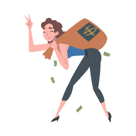 Successful Rich Girl Running Carrying Bag Full of Money, Wealthy Person, Millionaire Character, Financial Success, Profit, Income Concept Cartoon Style Vector Illustration