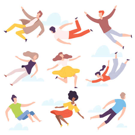 People Characters Flying and Floating in the Air Vector Illustration Set