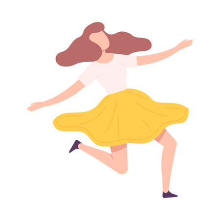 Flying Woman Floating in the Air Fantasizing Vector Illustration 矢量图像