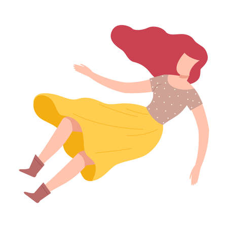 Young Female Soaring and Flying in the Air Dreaming Vector Illustration