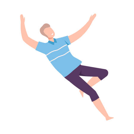 Young Male Soaring and Flying in the Air Dreaming Vector Illustration