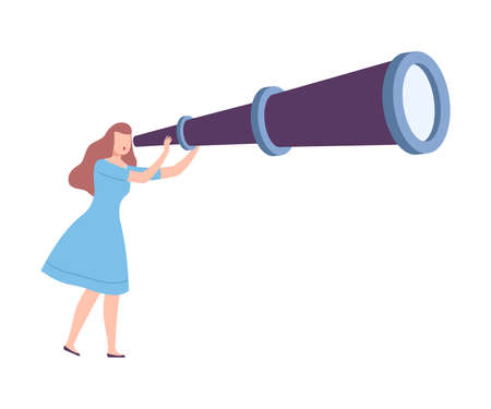 Female Holding Huge Telescope Searching and Investigating Vector Illustration